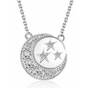 Jewelry - FINAL PRICE! 925 SS CZ Moon & Stars Necklace